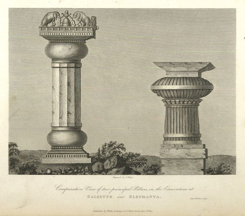Comparative View of two principal Pillars in the Excavations at Salsette and Elephanta